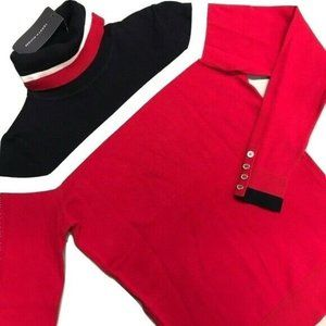 Tommy Hilfiger Turtleneck Women Size Small Red Swe